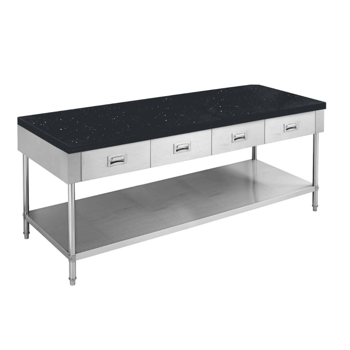 Stone Top Stainless Steel Bench
